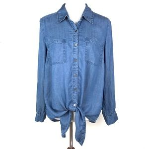 Style & Co Blue Chambray Front Tie Button Up Shirt